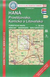 Haná - Prostějovsko, Konicko a Litovelsko - mapa KČT č.51 - 1:50t