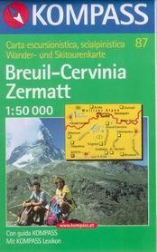 Breuil, Cervinia, Zermatt - mapa Kompass č.87 - 1:50t /Švýcarsko,Itálie/