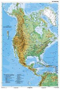 Severní a Střední Amerika geografická/ politická - mapa A3
