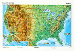 USA geografická/ politická - mapa A3