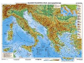 Balkán, Itálie, Řecko - obecně geografická mapa/ hospodářská mapa -  mapa A3
