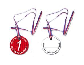 Pamětní medaile pro předškoláka s jedničkou Na cestu do školy