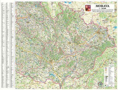 Morava nástěnná mapa 1:240 140x110cm - 140x110 cm
