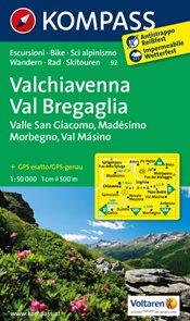 Chiavenna, Val Bregaglia - mapa Kompass č.92 - 1:50t /Švýcarsko,Itálie/