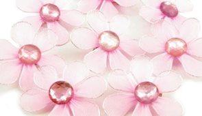 Květina se zavíracím špendlíkem s kamínkem - růžová
