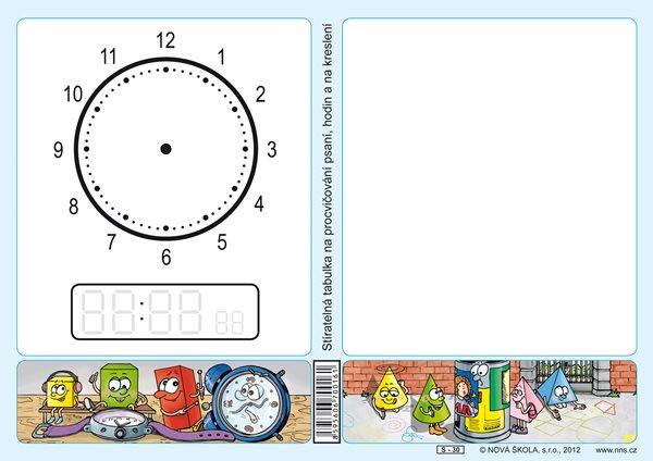 Stíratelná tabulka na procvičování psaní, hodin a kreslení