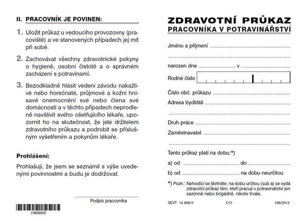 Zdravotní průkaz pracovníka v potravinářství - karta A6