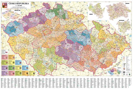 Česká republika administrativní nástěnná mapa 1:350 000 - 137x95