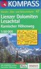 Lienzer Dolomiten, Lesachtal, Karnisher Hohenweg - mapa Kompass č.47 - 1:50t /Rakousko,Itálie/