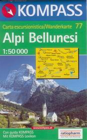 Alpi Bellunesi - mapa Kompass č.77  - 1:50t /Itálie/