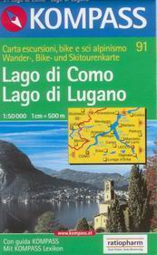 Lago di Como, Lago di Lugano - mapa Kompass č.91 - 1:50t /Švýcarsko,Itále/