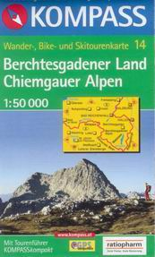 Berchtesgadener Land,Chiemgauer Alpen - mapa Kompass č.14 - 1:50t /Rakousko,Německo/