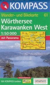 Wrthersee, Karawanken West - mapa Kompass č.61 - 1:50t /Rakousko,Itálie,Slovinsko/