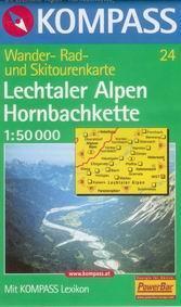 Lechtaler Alpen, Hornbachkette - mapa Kompass č.24 - 1:50t /Rakousko,Německo/
