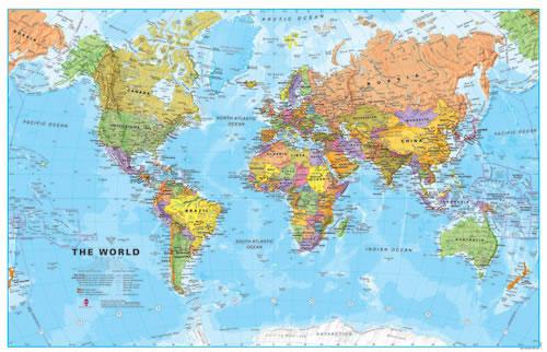 Svět -obří- politické rozdělení - 1:20 000 000 - nástěnná mapa /ZES/ - 200x120cm, Doprava zdarma