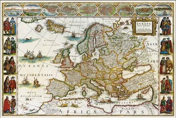 Historická Evropa - nástěnná mapa - 110x81cm
