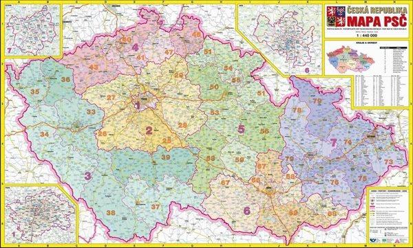 Česká republika PSČ - 1:440 000 - nástěnná mapa - 113x71cm
