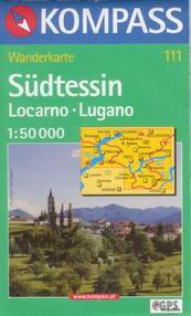 Sudtessin, Locarno, Lugano - mapa Kompass č.111 - 1:50t /Švýcarsko,Itálie/