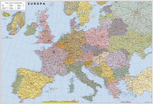 Evropa silniční - politické rozdělení -2A0- 1:2 835 000 - nástěnná mapa /ZES/ - 150x110cm