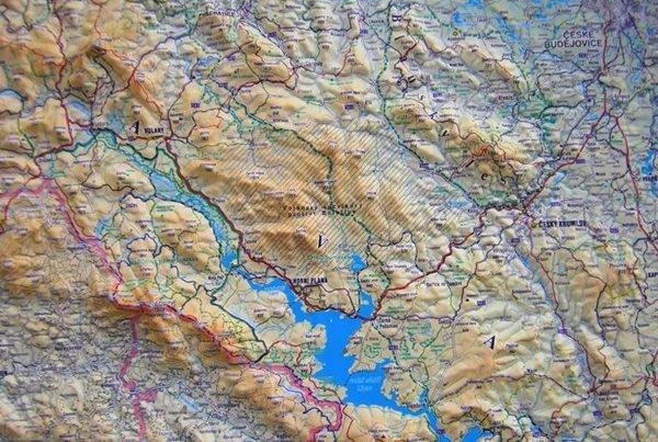 Šumava - reliéfní nástěnná mapa - 1:140 000 - 100x75cm