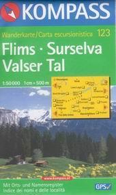 Flims, Surselva, Valser Tal - mapa Kompass č.123 - 1:50t /Švýcarsko/