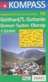 Gotthard, Grimsel, Susten, Oberalp - mapa Kompass č.108 - 1:50t /Švýcarsko/