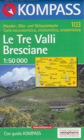Le Tre Valli Bresciane - mapa Kompass č.103 - 1:50t /Itálie/