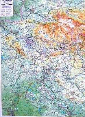 Jizerské hory, Český ráj - reliéfní nástěnná mapa - 1:66 000 - 75x100cm(výška)