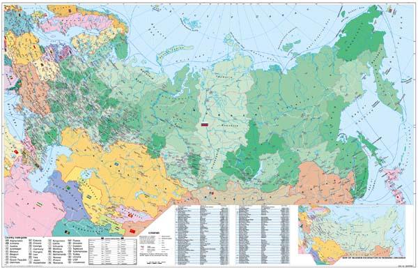 Rusko - administrativní - nástěnná mapa - 1:11 000 000 /Stiefel/ - 136x96cm