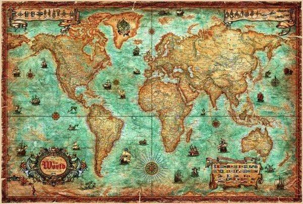 Svět - Antique-Rayworld - nástěnná mapa