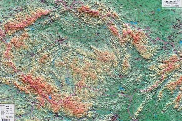 Česká republika - reliéfní nástěnná mapa - 1:500 000 - 102x72cm
