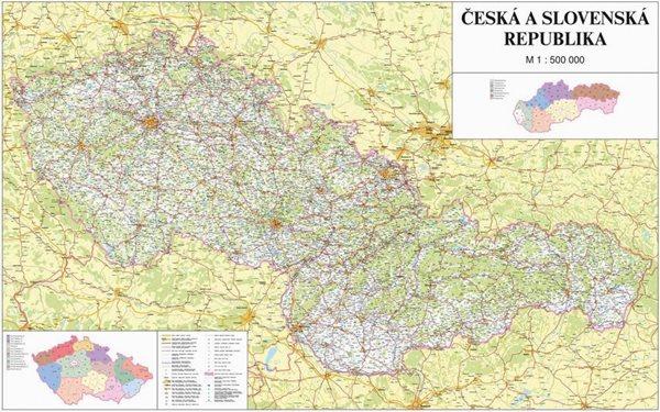 Česká a Slovenská republika - 1:500 000 - nástěnná mapa /ZES/ - 160x105cm