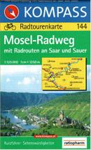 Mosel-Radweg - cykloprůvodce Kompass č.144 - 1:125t /Německo,Lichtenštejnsko/
