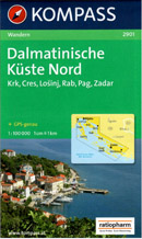 Chorvatsko - Dalmácie - sever - mapa Kompass č.2901 - 1:100 000