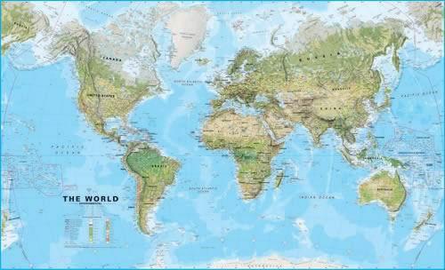 Svět obří - fyzický - 1:20 000 000 - nástěnná mapa - 200x123cm, Doprava zdarma