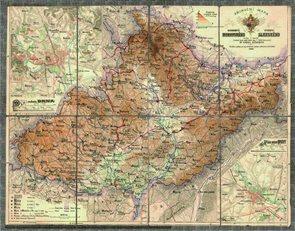 Historická Morava a Slezsko - r.1888 - nástěnná mapa