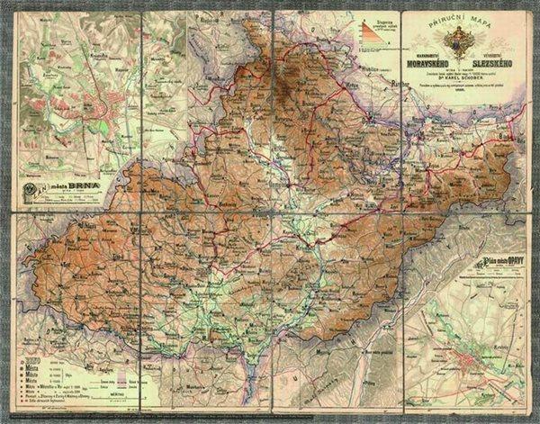 Historická Morava a Slezsko - r.1888 - nástěnná mapa - 90x70cm