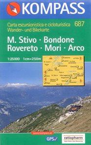 M.Stivo,Bondone,Rovereto,Mori,Arco - mapa Kompass č.687 1:25 000 /Itálie/