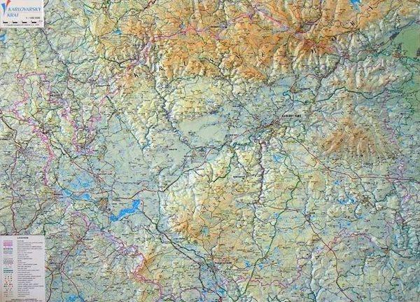 Kraj - Karlovarský - reliéfní nástěnná mapa - 1: 100 000 - 99x74cm