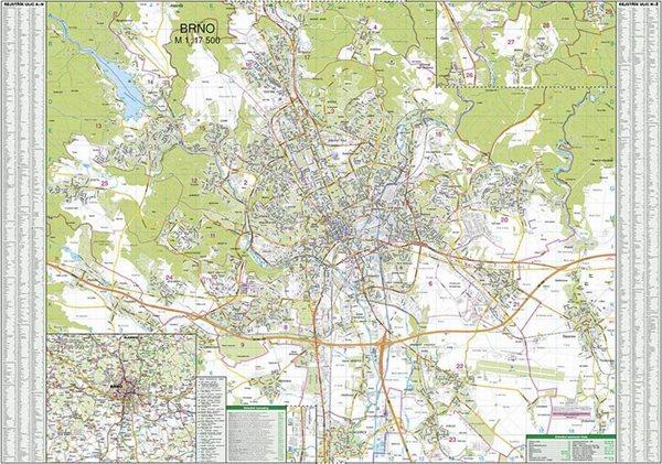 Brno - 1:17 500 - nástěnná mapa - 133x96cm