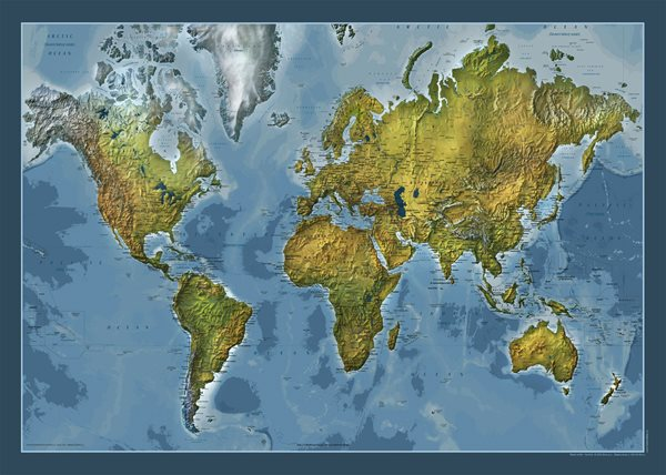Svět - obecně zeměpisný-oboustranný - nástěnná mapa /ZES/ - 140x100cm
