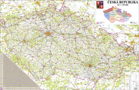 Česká republika - 1:330 000 - nástěnná mapa