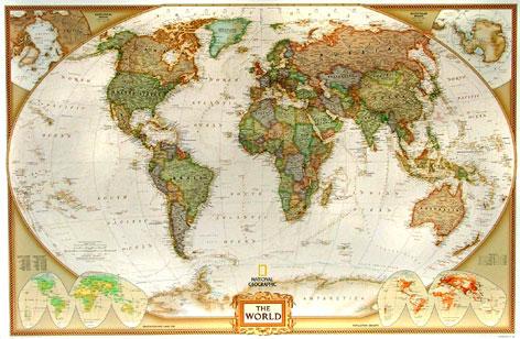 Nástěnná mapa Svět National Geographic - 117x77 cm