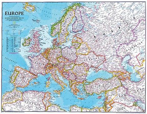 Nástěnná mapa Evropa National Geographic - 115x92 cm