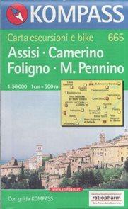 Mapa Assisi - Camerino - Foligno - Pennino Kompass 1: 50 tis.