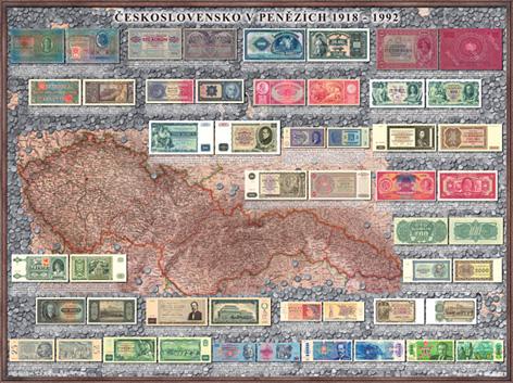 Peněžní mapa Československa nástěnná mapa - 160x120, Doprava zdarma