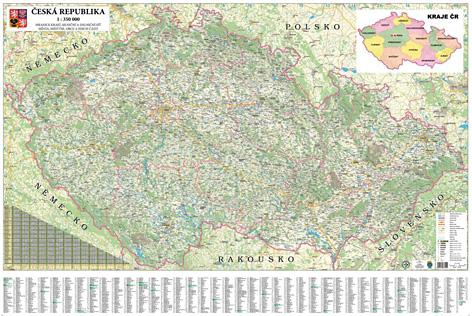 Nástěnná silniční mapa Česká republika 350 - 135x90