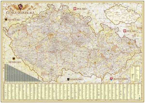 Česká republika exclusive - nástěnná mapa - 140x100 cm, Doprava zdarma