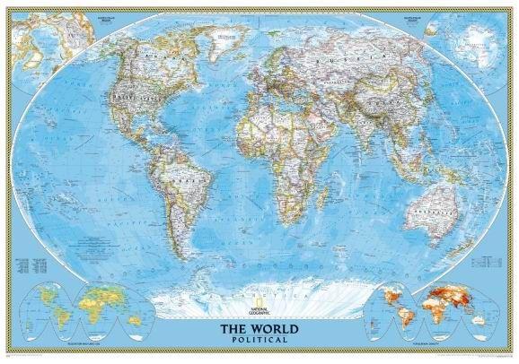 Svět - nástěnná politická mapa Classic 111 x 77 cm - 111x77 cm