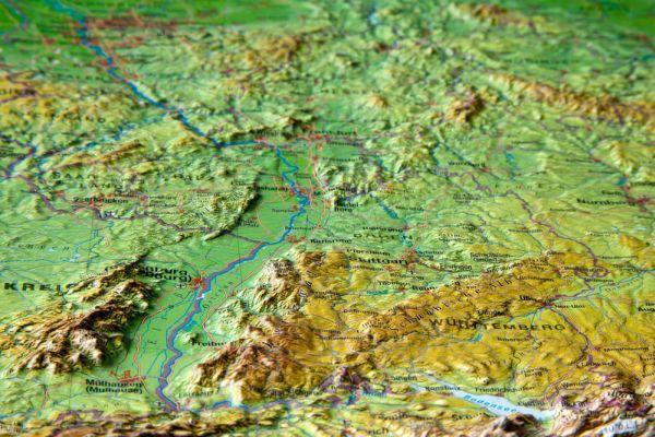 Německo - plastická reliéfní mapa 60 x 80 cm - 60 x 80 cm